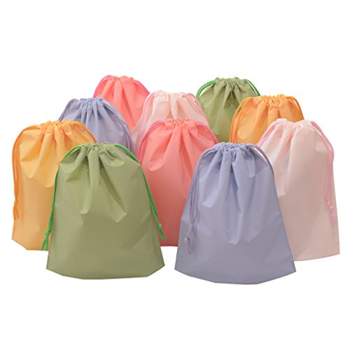 10' Polyethylene Plastic Bags - 15ct Drawstring Treat Cello Bags for Kids Party Favors Goodies Gift Wrapping, Gym Sports Travel Garments Organizing Storage, Assorted Colors Plastic Bags 8'' x 10'' (Bottom Gusset)