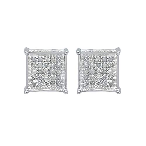 Jewelspaark 0.15 Carat 10K White Gold Natural Round Diamond Stud Earrings, 6mm Length