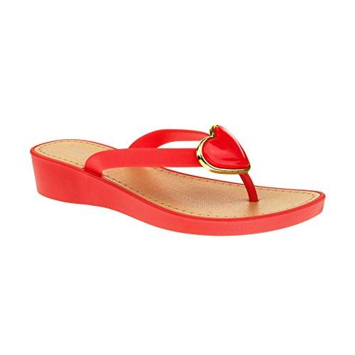 London Footwear - talón abierto mujer Red