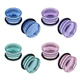 7 16 glass plugs - 4 Pairs Glass Ear Gauges Mushroom Single Flare Plugs Tunnels Ear Lobe Stretching Piercing 4G-5/8 inches (Gauge=5/8