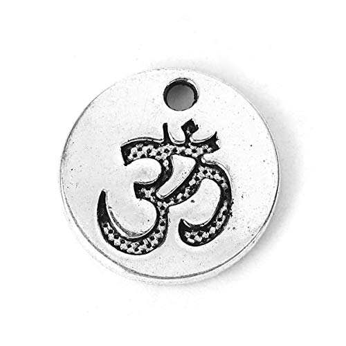 PEPPERLONELY 50pc Antiqued Silver Alloy Round Yoga OM/Aum Charms Pendants 15x15mm (5/8