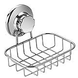 Slideep Vacuum Suction Soap Dish Holder, Rustproof Stainless Steel Shower Bar Soap/Sponge Saver Holder for Bathroom & Kitchen Sink