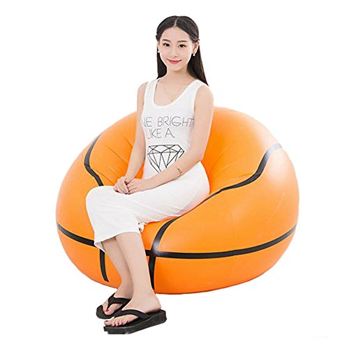 Inflatable Chair, Botitu® Large Cool Basketball Design Inflatable Sofa Bearing 220 lb Bean Bag Chair for Adults and Teens, Perfect for Indoor and Outdoor Use Armchair