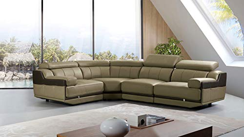 American Eagle Furniture Sherwood Collection Modern Top Grain Italian Leather Curved Sectional Sofa With Adjustable Headrests, Light Gray
