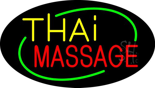 Thai Massage Animated Clear Backing Neon Sign 17'' Tall x 30'' Wide by The Sign Store