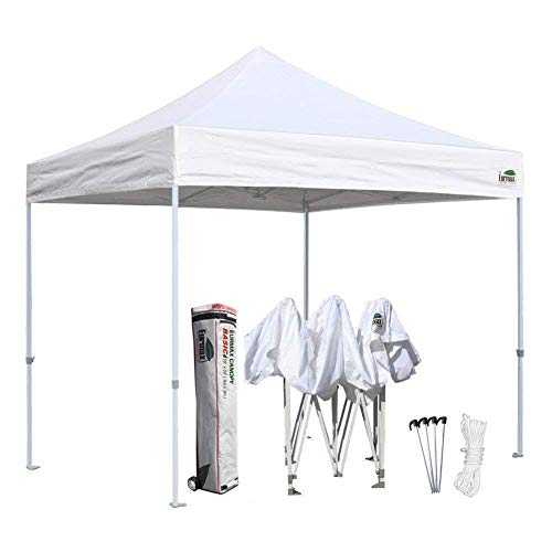 Cheap Eurmax 10'x10′ Ez Pop Up Canopy Tent Commercial Shelter with Heavy Duty Roller Bag (White)