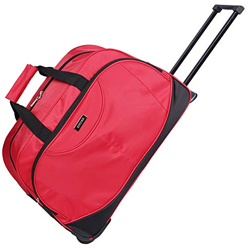SIYUAN Travel Tote Suitcase Travel Rolling Duffel Suitcase Weekend Rolling on Wheels Red Large
