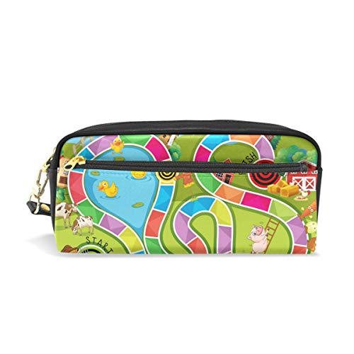 AMONKA Pencil Case Game pencase Pen Holder Cosmetic Makeup Bag Women Durable Stationery Pouch Bag Large Capacity for School Kid Boys Children Teens Office Supplies Adult PU Leather Zippers