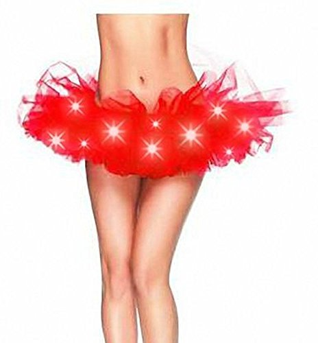 [Women's LED Light Up Running Tutu | Costume, Glow Night 5K Run - One Size (Ruby Red)] (Light Up Costumes For Adults)