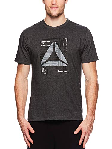 Reebok Men's Graphic Workout Tee - Short Sleeve Gym & Training Activewear T Shirt - Mantra Charcoal Heather, Small