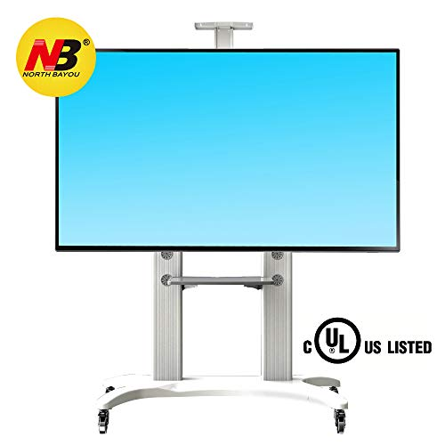North Bayou Mobile TV Cart TV Stand with Wheels for 55 to 80 Inch LCD LED OLED Plasma Flat Panel Screens up to 125lbs AVF1800-70-1P White Aluminum
