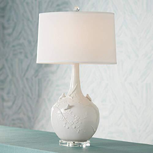 Cottage Table Lamp Sparrow Ceramic White Glaze Vase Oval Shade for Living Room Family Bedroom Nightstand Office - Possini Euro Design