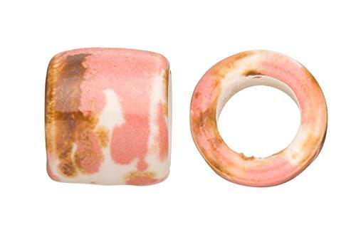 Ceramic Tube Beads - Tube Licorice Ceramic Bead Fits 10x8mm Licorice Leather Pink Splash Glazed Finished