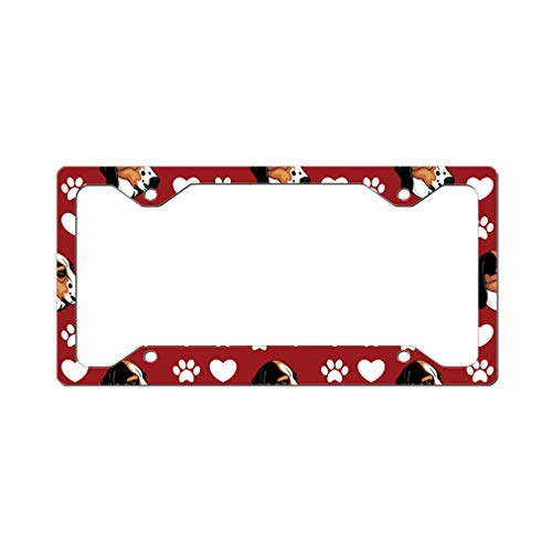 Style In Print Custom License Plate Frame Treeing Walker Coonhound Dog Red Aluminum Cute Car Accessories Narrow Top Design Only Set of 2