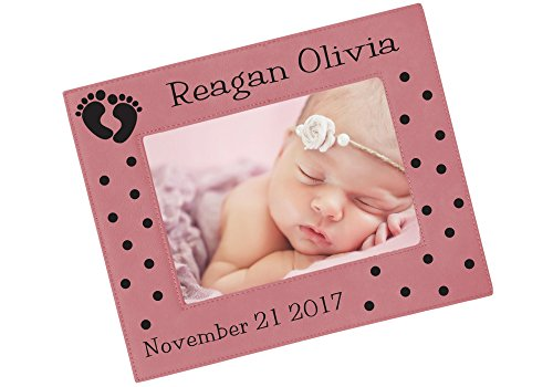 Christmas Photo Birth Announcements - Personalized New Baby Picture Frame - Custom Engraved Birth Announcement Photo Frame, Choice of Sizes, Colors - FVL04