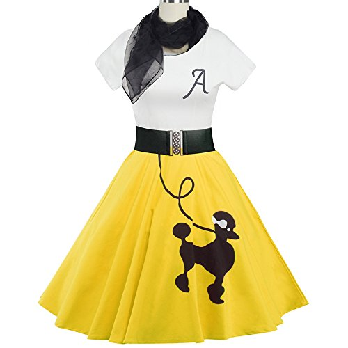 DressLily Retro Poodle Print High Waist Skater Vintage Rockabilly Swing Tee Cocktail Dress (XX-Large, Yellow)