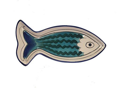 Blue Sky Ceramic Petite Sardines Fish Appie Platter, 14.5 x 11 x (Green Fish Platter)
