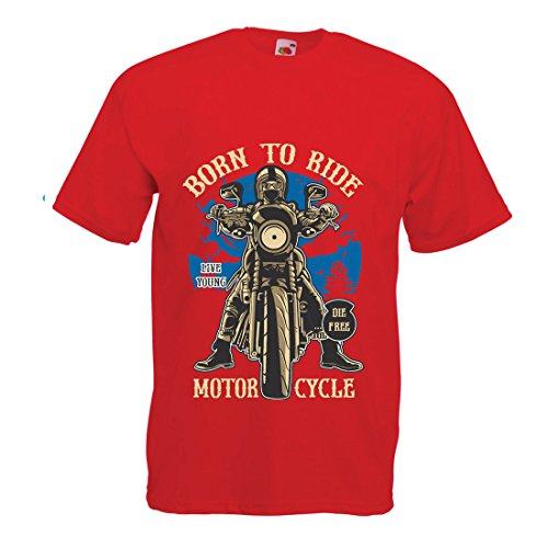 T Shirts for Men Live Young - Die Free - Born to Ride Motorcycle, Gift Ideas for Bikers, Inspirational Slogans (XX-Large Red Multi Color)