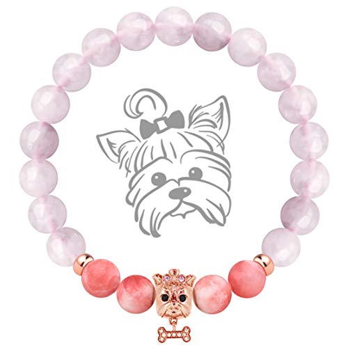 Karseer Yorkshire Terrier Charm Gemstone Anxiety Bracelet, Semi Precious Veined Carnelian Pink Chalcedony Beaded Elastic Bracelet, Natural Pink Crystal Healing Stone Dog Theme Bracelet (Rose Gold)