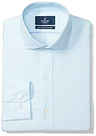 "BUTTONED DOWN Men's Classic Fit Spread-Collar Pattern Non-Iron Dress Shirt, Aqua/Blue Houndstooth, 14.5"" Neck 32"" Sleeve"