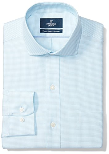 BUTTONED DOWN Men's Classic Fit Spread-Collar Pattern Non-Iron Dress Shirt, Aqua/Blue Houndstooth, 17.5