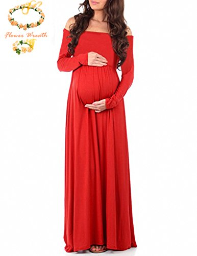 Maternity Grace Off The Shoulder Maxi Dress for Photo Shoot-Long Sleeve Baby Shower Gown (S, Red)