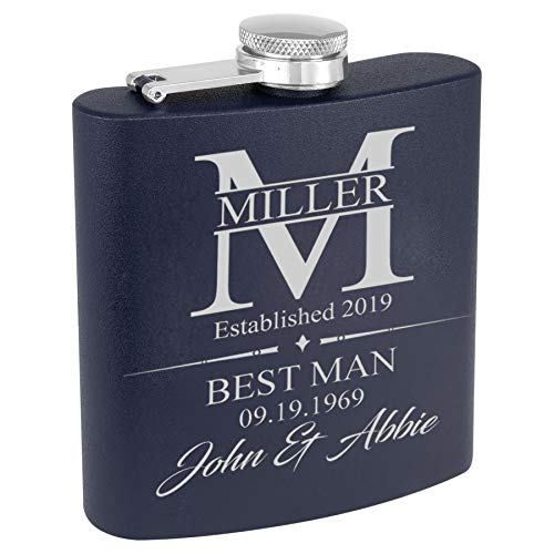 Personalized Stainless Steel Flask - Perfect for any groomsman, best man, father of the groom (Navy Blue)
