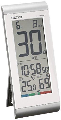 세이코 clock 벽시계 탁상시계 겸용 일력 캘린더 전파 디지탈 온도 습도 표시 은색 메탈릭 SQ431S SEIKO