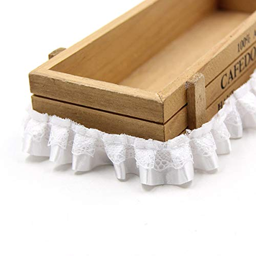 Yalulu 10 Yard/Lot 1 Inch Ruffled Chiffon Tape Ribbon Pleated Chiffon Lace Trim DIY Craft Sewing Material Headwear Accessories Supply (White) ()