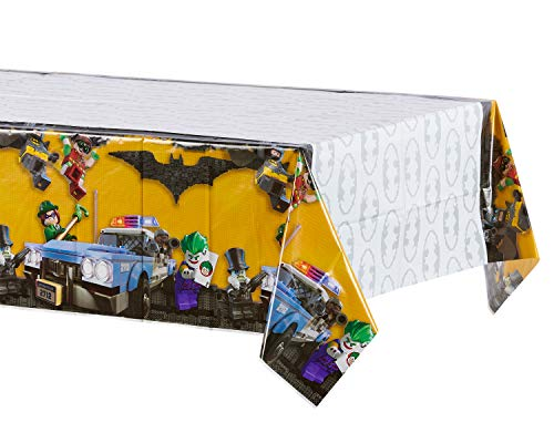 Lego Batman Birthday Party Supplies (American Greetings Lego Batman Party Supplies, Plastic Table Cover, 54