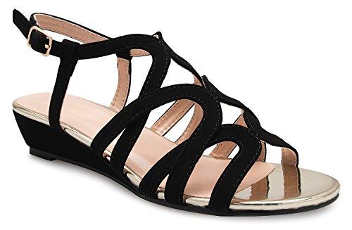 - OLIVIA K Women's Strappy Crisscross Cutout Ankle Strap Buckle Kitten Low Wedge Heel Sandals - Comfortable, Slingback