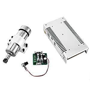 SucceBuy DC Motor Kit 4 PC DC Motor Spindle 400W Spindle Motor With 12000RPM PWM Driver Speed Controller And Mount Bracket Engraving Stock