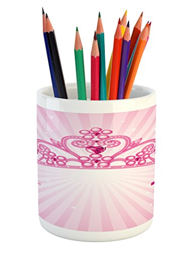 The Shining Costume Design (Kids Pencil Pen Holder by Lunarable, Beautiful Shining Pink Fairy Princess Costume Crown with Diamond Figures Girls Print, Printed Ceramic Pencil Pen Holder for Desk Office Accessory, Pink Fuchsia)