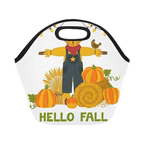 - Insulated Neoprene Lunch Bag Autumn Pumpkins Hay Bale Large Size Reusable Thermal Thick Lunch Tote Bags For Lunch Boxes For Outdoors,work, Office, School