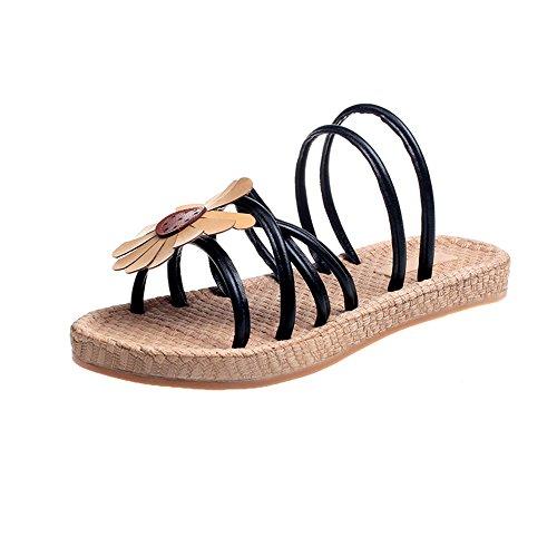 Queena Wheeler Fashion Summer Slipper Sandals Women Casual Beach Flip Flops Slides Shoe Flat Plus Size Black