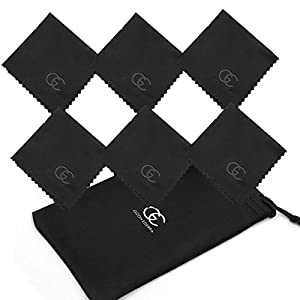 GIZON EDERRA® Superfine Microfiber Eyeglass Cleaning Cloth 6x6 inch for glasses, lens, smartphone, tablets and laptop screen cleaning + Eyeglass pouch (Black)