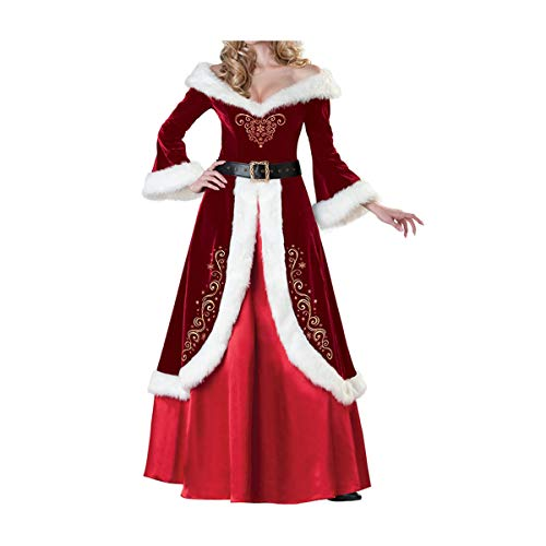 Ciel Infini Women's Deluxe Classic Mrs. Claus Costume Queen Style Long Fancy DressRed,Tag XL=US S ()