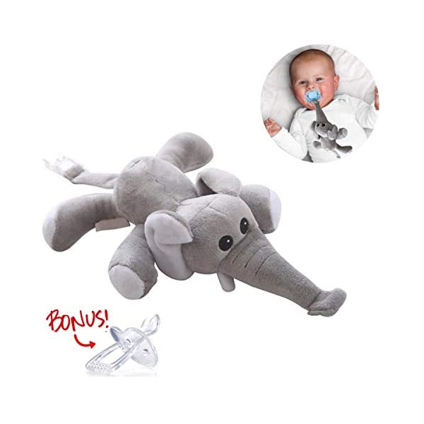 Elephant Pacifier Holder – Stuffed Animal Binky, Soft Plush Soothie Toy w/Detachable Silicone Baby Pacifier, Paci Clip Leash & Squeaky Sound Teether, Safe & Soothing Baby Shower Gift for Boys & Girls