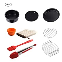 Taimot Air Fryer Accessories Set of 9, Household Electric Fryer Universal Cake Barrel Baking Basket Silicone Pad and Brush Stainless Steel Pizza Tray Pot Holder Grill Heat-Resistant Gloves Muffin Cup
