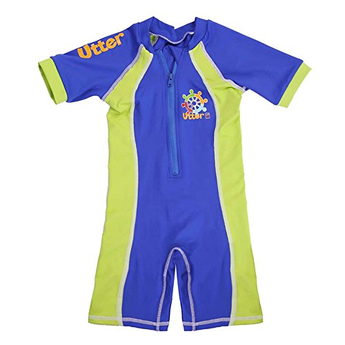 UTTER UPF50+ Shorty Sleeve Sunsuit Girls and Boys Sun Protection One Piece Swimsuit (S(2-3Y), Royal Blue/Fluo Green)