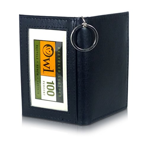 OWL Folding ID BLACK Small Leather Bifold ID Card Holder Wallet with Keychain for Men + Women (Gift Grommet Card)