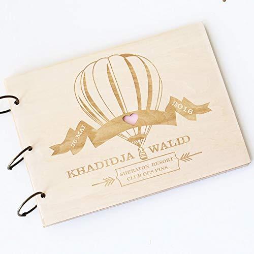 Vivona Custom Wedding Photo Album Wood Rustic Wedding photobooth Guest Book Engagement Anniversary - Hot Air Balloon - (Color: Square Kraft Paper)