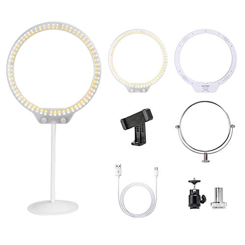 "Selfie Desktop Ring Light ,ZOMEI 10""7.5W 3200-5500K Dimmable Ring Light with Mirror for YouTube,Live Streaming,Portrait Photography and Make up."