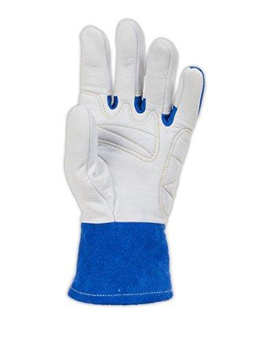 Welding Gloves, L, Wing, 10In, Blue/White, PR