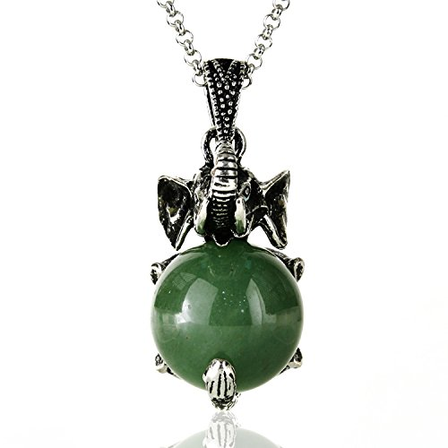 JewelrieShop Healing Chakra Gemstone Crystal Retro Vintage Elephant Charm Pendant Necklace, Stainless Steel Chain (Jade Necklace Pendant Elephant)