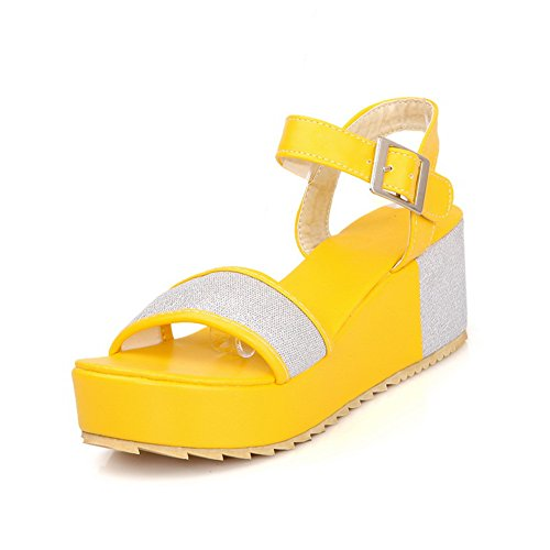 Buckle Open Colors M Kitten 3 Toe Sandals Soft B Platform Assorted Womens PU Heel US with Material WeenFashion Yellow OvwSf5TqxS