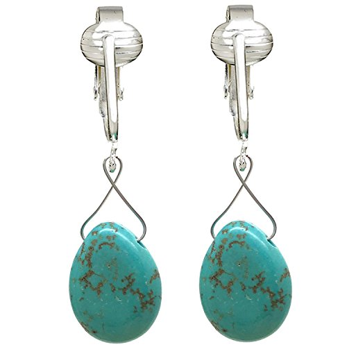 Turquoise Clip Earrings - Trendy Turquoise Clip On Earrings for Women - Teardrop & Cube Clip-on Earrings w Pierced Look, Clip (Turquoise Briolette)