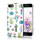 Soft Phone Cover for iPhone 8, Raised Edge Scratch Resistant Light Weight Thin Flexible TPU Glossy Bright Rubber Silicone Protective Case for iPhone 7 and iPhone 8 - Watercolour Cacti and Succulent