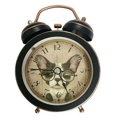88 store Cute Dog Silent Quartz Analog Quiet Non-Ticking Retro Vintage Classic Bedside Twin Bell Alarm Clock Wind-Up Clock with Loud Alarm and Nightlight (Black)