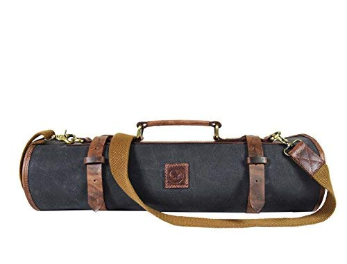 Leather Knife Roll Storage Bag | Elastic and Expandable 10 Pockets | Adjustable/Detachable Shoulder Strap | Travel-Friendly Chef Knife Case Roll By Aaron Leather (Fossil Grey, Canvas)